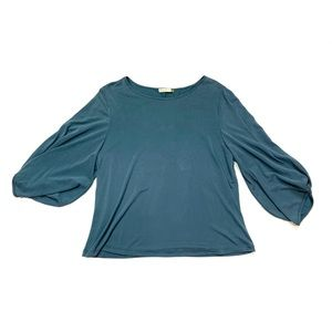 Chalet et Ceci Blue 3/4 Sleeve Blouse Top Small